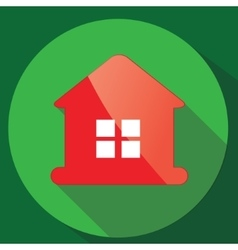 Red glance house icon in flat design vector image vector image
