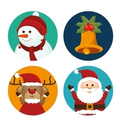 Set christmas santa deer snowman and bell vector