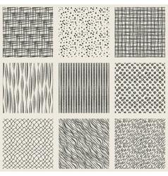 set hand-drawn monochrome pattern vector image