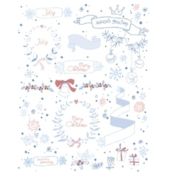 Set of Christmas and decorative elements vector image
