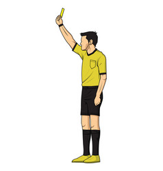 soccer referee showing yellow card vector image vector image