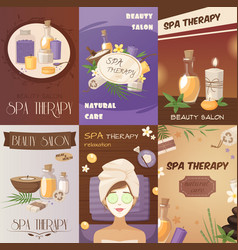Spa therapy and beauty cartoon posters vector