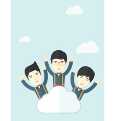 Three happy chinese businessmen on the cloud vector