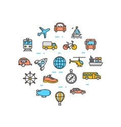 Transportation round design template thin line vector