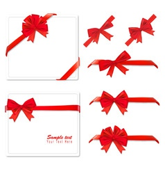 two red bows backgrounds and ribbons vector image