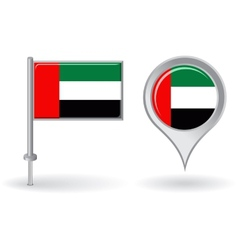 United Arab Emirates pin icon and map pointer flag vector image