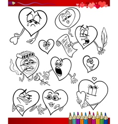 Valentine cartoon themes for coloring vector