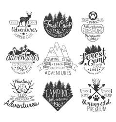 Vintage Forest Stamps Set vector image