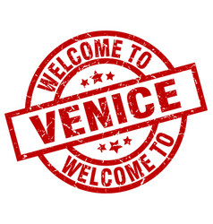 Welcome to venice red stamp vector