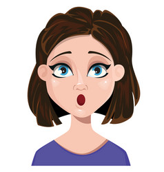 woman surprised female emotion face expression vector image vector image