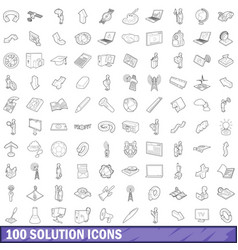 100 solution icons set outline style vector image vector image