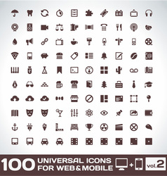 100 Universal Icons For Web and Mobile volume 2 vector image