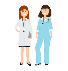 Two women gay doctor in hospital vector