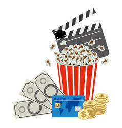Color clipper board pop corn and money icon vector