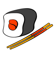 Sushi roll icon cartoon vector