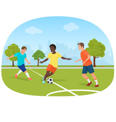 The people playing football in the field stadium vector