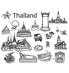 Thailand attractions icon and vector