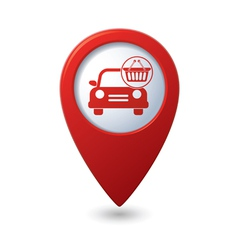 Car with shop basket icon on red pointer vector