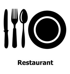 restaurant icon simple black style vector image