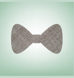 Bow tie icon  brown flax icon on green vector