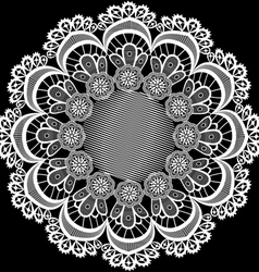 Circular pattern with flowers from lace vector
