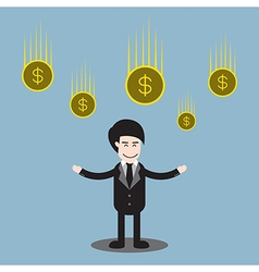 Businessman standing and money coins falling vector