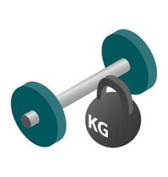 Barbell and weight isometric 3d icon vector