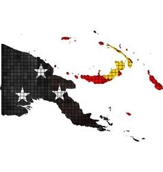 Papua new guinea map with flag inside vector