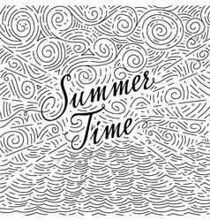 Summertime handwritten phrase on an abstract vector