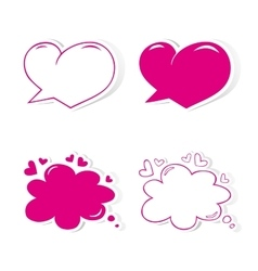 Heart shaped speech bubbles set vector image