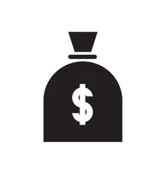 Flat icon in black and white money bag vector image