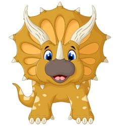 Funny triceratops cartoon look at camera vector