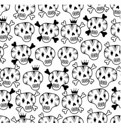 black and white seamless background with funny vector image