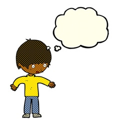 Cartoon confused boy with thought bubble vector