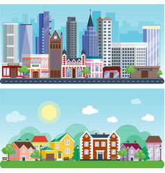 city outdoor day landscape house street buildings vector image