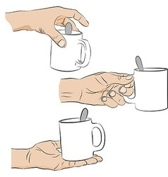 Collection of male hands with cup vector image