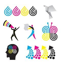 Color print design elements vector image vector image