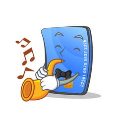 credit card character cartoon with trumpet vector image vector image