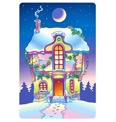Fairy tale house under the moonlight vector image vector image
