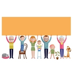 Family with banner flat design vector