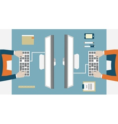 Flat concept of business workflow vector image