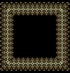 frame with gold pattern on a black background vector image