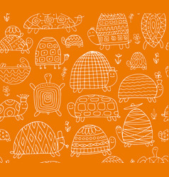 funny turtles collection seamless pattern for vector image vector image