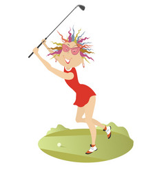 Good day for playing golf for young woman vector
