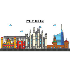 Italy milan city skyline architecture buildings vector