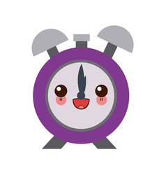 Kawaii clock alarm hour school design icon vector