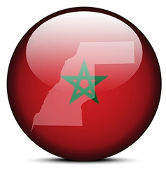 Map on flag button of western sahara vector