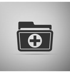 Medical health record folder icon for healthcare vector image