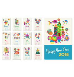 New year 2018 happy geometric abstract color art vector