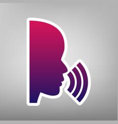 People speaking or singing sign purple vector